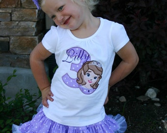 Princess Sofia birthday outfit, Personalized Shirt and skirt, Embroidered, Appliqued, Monogrammed