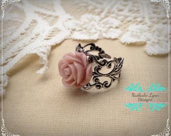 Pink Rose Ring, Silver Filigree Ring, Pink Flower Ring, Rose Jewelry, Rose, Adjustable Ring, Flower Jewelry, Silver Ring