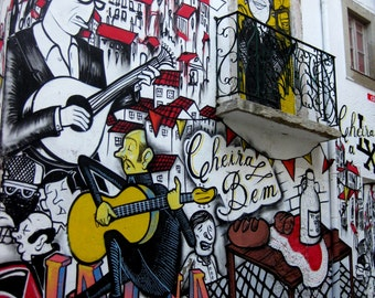 Lisbon Graffiti Fado Alfama District Photo Print. Photography Portugal Guitar Balcony Window Yellow Red. Travel Photo Street Art Wall Decor