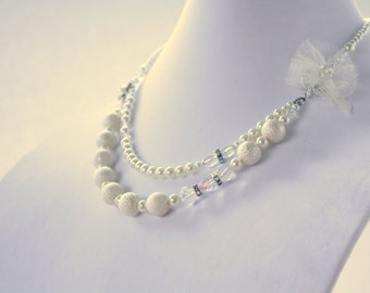 Ivory Pearl with Crystals and Rhinestones Statement Jewelry Chunky Eclectic
