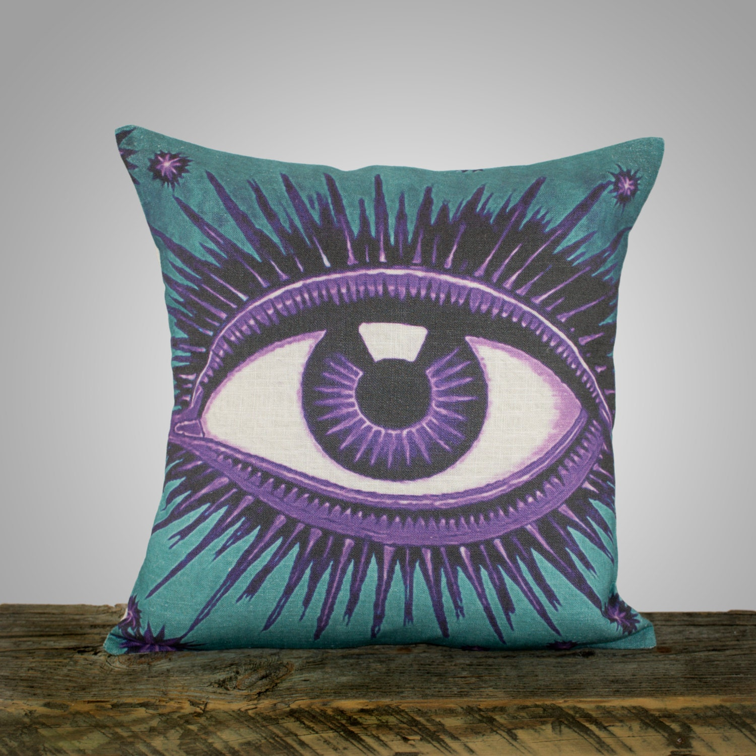 Eye Pillow Teal And Amethyst Decorative Throw Pillow Purple