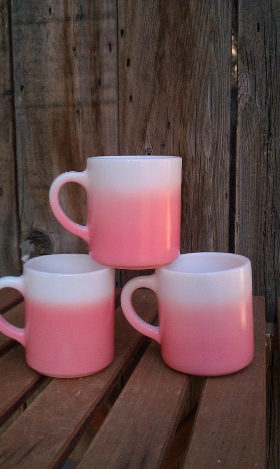 Three Vintage Ombre Pretty Pink Mugs Anchor Hocking Milk Glass