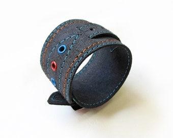 Leather bracelet, Dark Grey color, Leather cuff