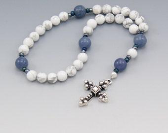 Anglican Rosary -  Baptism Gift - Communion Gift - White Howlite - Devotional Prayer Beads - Item # 758