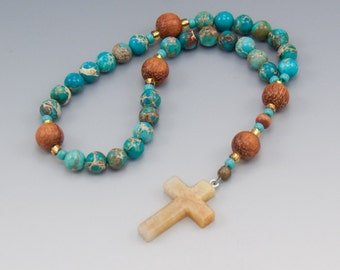 Anglican Prayer Beads - Christian Rosary - Turquoise Blue Gemstones - Inspirational Gift - Item # 736