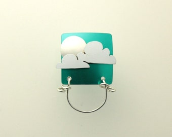 Silver Moon on Turquoise Magnetic Eyeglass Holder