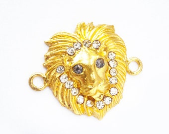 Lion Connector in Gold Rhinestone Connector Lion Charm with Crystal Rhinestones, RC159