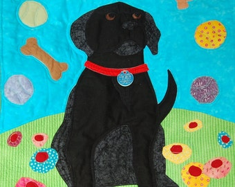 One Dog's Daydreams Black Lab Quilt pattern designed by Mary Downes for Undercover Quilts Labrador Dog Puppy