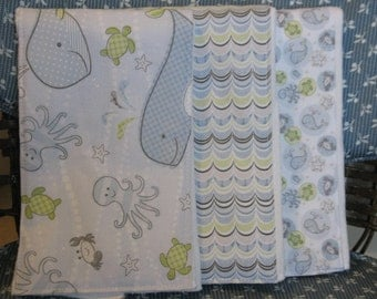 Burp Cloth Set of 3-Handmade-Under the Sea-Blue, Green & Gray Sealife-Great Baby Shower Gift