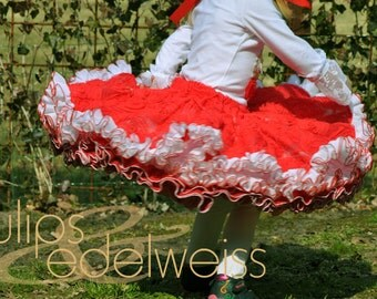 "LULU - ruffled pettiskirt skirt for girls & 46 cm (18"") doll, PDF sewing pattern - INSTANT download"