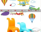 PEEL and STICK Removable Vinyl Kids Wall Decal Wall Sticker - Monkeys on the Air Planes & Hot Balloons