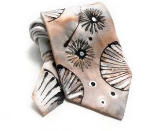 Man Tie. Hand Painted Silk Tie. Champagne Tie. Gift for Him. Handmade Silk Tie. Peach Orange, Apricot Tie. OOAK Silk Tie. MADEtoORDER