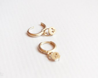 tiny gold skull earrings - gold skull jewelry / gift for her