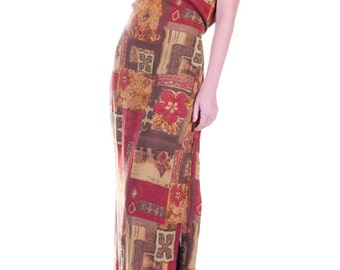 FINAL SALE Vintage tribal maxi dress brown red size small  medium