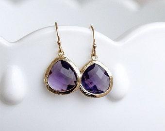 Amethyst Earrings in Gold - Purple Drop Earrings - February Birthstone Earrings - Gold Filled Earwire - Faceted - Purple Bridesmaid Jewelry