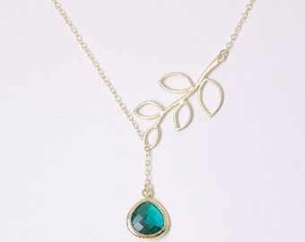 Emerald Green and Gold Lariat - Twig and Emerald Faceted Necklace on Gold Filled Chain - Emerald Bridesmaid Jewelry, May Birthstone Jewelry