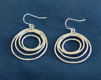 Modern Silver Circle Earrings - Circles on Sterling Earwire - Circl Hoop Earring Dangle Earring - Silver Jewelry