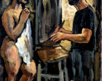 Artist and Model in Studio. Original Oil on Canvas, 12x16 inch Modern Expressionist Painting, Signed Original Fine Art
