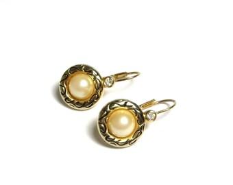 Vintage Gold Tone Pierced Mock Pearl Cubic Zirconia and Black Enamel Earrings - Weight 5.9 Grams - Pierced