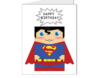 Get 10% OFF - Children Kid Happy Birthday Card - Superman Man of Steel Collection Custom Blank Card - Special 2016 SALE