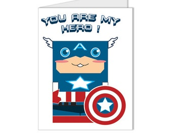 Get 10% OFF - Art - Illustration - You Are My Hero - Superhero Collection Captain America Custom Blank Card - Special 2016 SALE