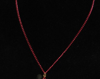 Pearl & Red Swarovski Crystal Mini Pendant Necklace