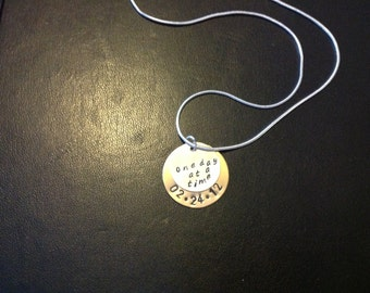 Personalized Sobriety Date Charm Necklace