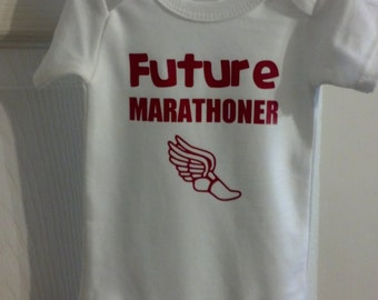 Future Marathoner bodysuit / one piece / creeper with flying shoe (Marathon, Running)