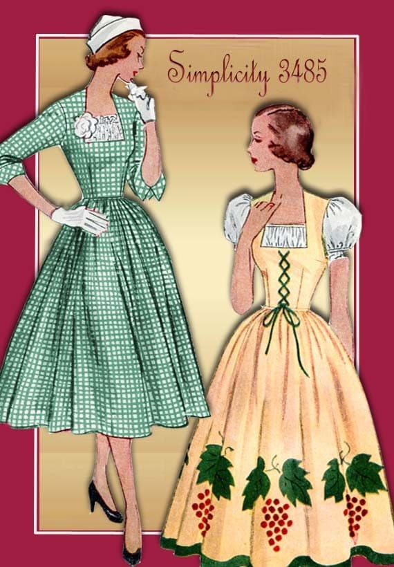 1950s Dress Pattern Vintage Simplicity 3485 Mother Daughter Variations Unused Pattern