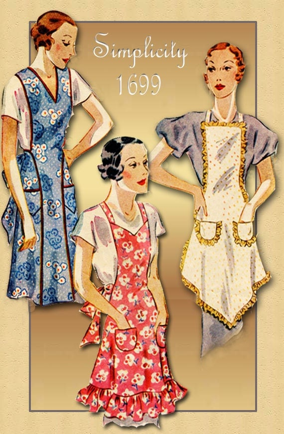 1930s Apron Pattern Simplicity 1699 Bibbed Apron with Three
