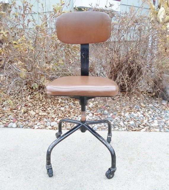 Vintage Factory Industrial Stool Caster Chair Office Chair Adjustable ...