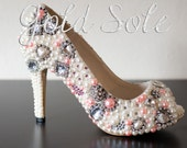 Embellished Bridal Wedding Shoes with Ivory and Pink Pearls