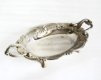 Vintage footed metal bowl, LEAF ORNAMENTS, German silver, bonbon dish, trinket tray, leaves, silvertone tableware, home decor, houseware
