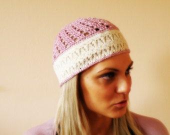 COTTON LACE summer HAT women pink flapper hat summer cap women crochet pastel pink cloche spring skullcap