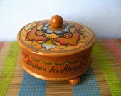 "Vintage wood box souvenir Norway ""Hilsen Fra Alesund"", wooden box, jewelry box, hand painted box, floral box,"