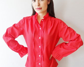 red & white polka dot buttoned pintuck pleated 70's chic vintage blouse - small - medium