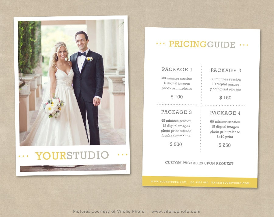photography pricing template price list wedding pricing