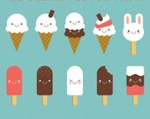 Cute Kawaii Ice Cream and lolly Vector Pack // Instant Download