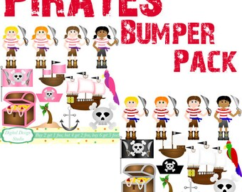 Pirate boys and girls clip art set, 26 designs. INSTANT DOWNLOAD for Personal and commercial use.