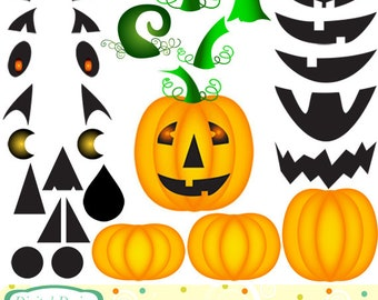 Pumpkin clip art kit, mix and match, build your own. INSTANT DOWNLOAD for Personal and commercial use.