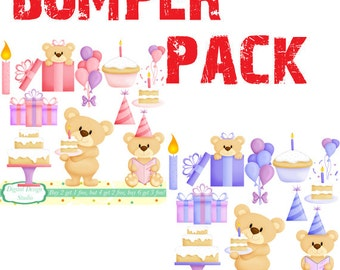 Birthday Teddy, boys and girls clip art set, 20 designs. INSTANT DOWNLOAD for Personal and commercial use.
