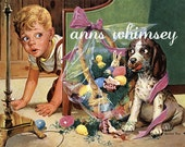 Easter Puppy and Boy - Vintage Restored Art Print - Great Easter Decoration -  Great For Little Boy's Room All Year Round - 1950s art