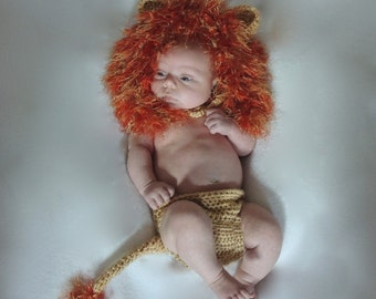 Crochet Little Lion Hat and Diaper Cover Photo Prop - Newborn (PATTERN ONLY)