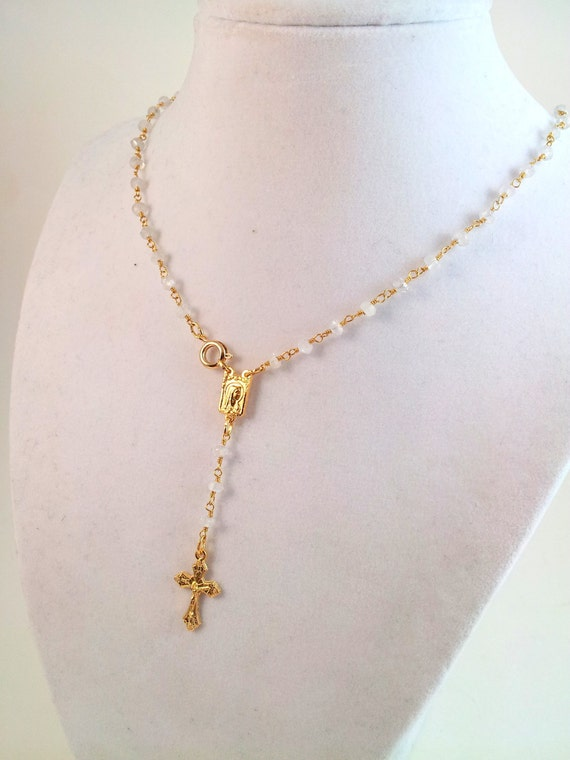 Gold Rosary Chain Necklace With Crucifix Moonstone Rosary Necklace Gold