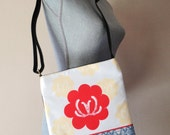 "Shoulder Sling / Crossbody Bag - ""Red Lotus"""