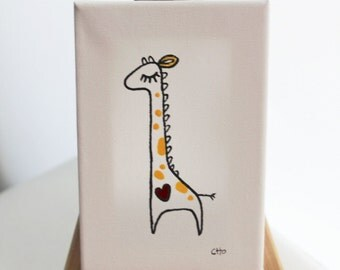 personalized original canvas art - heart - giraffe