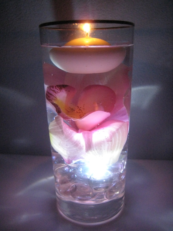 Pink orchid floating candle wedding centerpiece kit with