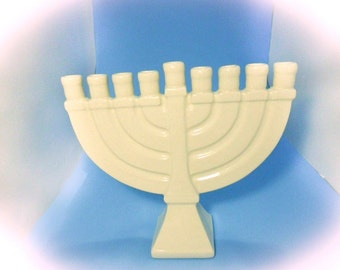 READY TO SHIP Ceramic Menorah White Glazed - handmade, painted -9.25 inches wide