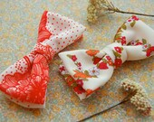 SALE! Orange Floral Knit Bow Tie - Clip-on bowtie made to order from vintage floral polyester fabric.