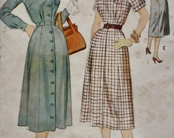 1950s Dress Pattern /Gored Skirt /Vintage Sewing Pattern /McCall's 3010 /Zip Front or Button Front/ Bust 36